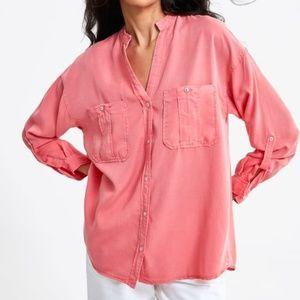 Zara Bright Coral Pink Button-Down Top
